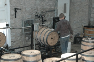 filling the barrels at Woodford Reserve