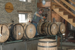 drilling out the cork - barrel is ready to bottle!
