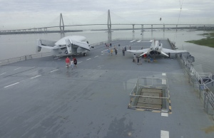 view of flight deck from bridge